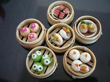 Set of 6 Dim Sum Chinese Cuisine Handmade Dollhouse Miniatures Food Deco A