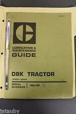 Vintage Original CATERPILLAR D8K TRACTOR Lubrication & Maintenance Guide