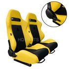 2 X Tanaka Yellow Black Racing Seats For Ford Mustang Cobra