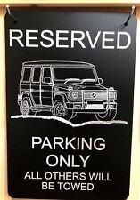 "Mercedes G  Vanity Parking Sign Diamond Etched on 12"" X 18"" Aluminum Flat Black"