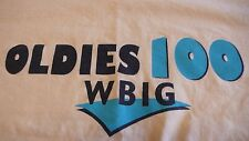 VINTAGE WBIG 100 OLDIES RADIO STATION XL YELLOW T-SHIRT MADE IN USA