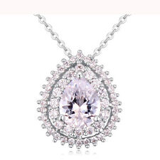 18K WHITE GOLD PLATED & GENUINE AUSTRIAN CRYSTAL & CLEAR CZ TEARDROP NECKLACE