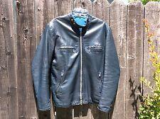 RARE! 60s Mens BRIMACO LIGHTNING ZIPS Blue Leather Cafe Racer Motorcycle Jacket