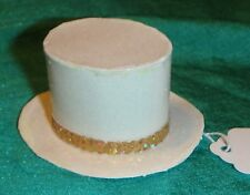 Off White Sparkle Paper Top Hat w Gold Sparkle Band Ken Barbie Dolls KNH255