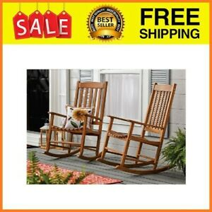Outdoor Wood Porch Rocking Chair, Natural Yellow Color, Weather Resistant Finish
