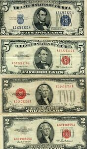 1934-C, 1963 $5 AND 1928-G, 1953-A $2 PAPER MONEY GROUP!!!!..STARTS @ 2.99
