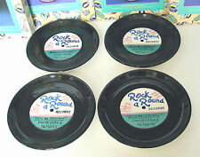 """ROCK a ROUND RECORD PLATES Set of 4 8"""" Ceramic Canape Fitz & Floyd OCI '94 Boxed"""