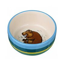 GUINEA PIG BOWL CERAMIC 15cm WITH GUINEA PIG PICTURE STRIPED Dish Washer Safe