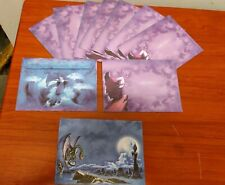 10 Fantasy 5x7 greetings card envelopes only wizard Dragon New purple blue