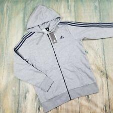 New ADIDAS sz L men's gray navy stripes long sleeves full zip hoodie