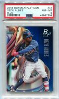 2018 Bowman Platinum Blue 41 Ozzie Albies Rookie 91/150 PSA 8 NM-MT