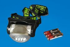 LED Head Light Swivel Lens Battery Operated Bicycle Headlamp Sports