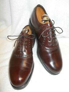 Excellent Condition FootJoy Men Brown Leather Brogue Plain Toe Saddle Oxford 10D