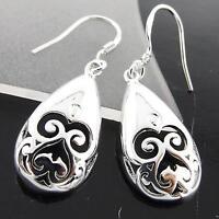 Earrings 925 Sterling Silver S/F Solid Ladies Hook Drop Celtic Filigree Design