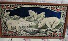 """Vintage Framed Polar Bear Tapestry Rug Wall Art Alaska 39"""" By 19"""""""