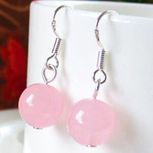 2pair New Fashion Pretty 10mm Pink Jade Round Beads Silver Hook Earrings