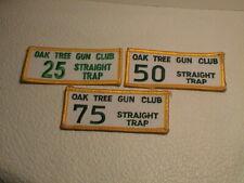 LOT /3 OAK TREE CALIFORNIA GUN CLUB STRAIGHT TRAP 25 50 & 75 SKEET CLAY PATCHES