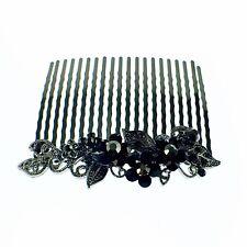 USA Hair Comb Hairpin use Swarovski Crystal Vintage Elegant Charming Black Gray