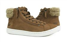 UGG Olive Chestnut Brown Suede Fur High Top Sneakers Womens Size 8 *NIB*