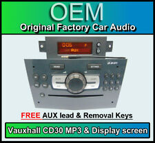VAUXHALL Corsa CD30 Lettore MP3, grigio lucido CD RADIO STEREO DISPLAY + + cavo aux