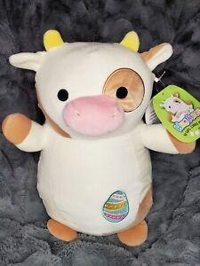"NWT Squishmallow 14"" Drella Cow KellyToy Hug Mees Plush Toy 2021 Easter Egg HTF"