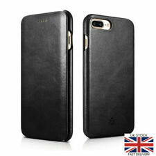 NOVADA iPhone 7 Plus Case Genuine Leather Flip Cover Vintage Collection Black