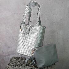 ♥ Flechttasche Wendetasche 2 in1 Tasche geflochten Silber Grau Metallic *130