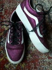 Vans purple ribbon glitter platform sneakers trainers size 7 40