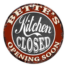 CWKC-0607 BETTE'S KITCHEN CLOSED Chic Tin Sign Decor Mother's day Gift