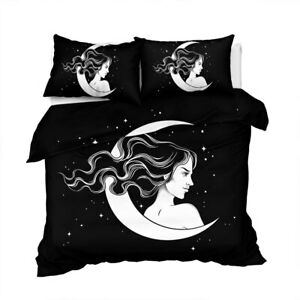 Black Witchcraft Magic Moon King Queen Twin Quilt Duvet Pillow Cover Bed Set
