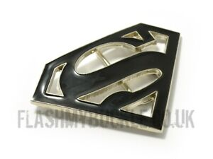 Superman Belt Buckle - Chrome and Filled with Black Gloss