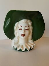 Haeger Head Vase Lady with Large Green Floppy Hat
