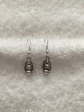 Ladies 925 Silver Plated Charm Oil Lamp Style Earrings