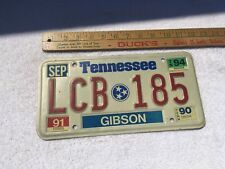1990,1991 And 1994 Decal Original Tennessee License plate LCB 185 Gibson  County