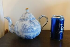 Ceramic Teapot - A Special Place 2003 - Blue print on White w/ gold trim - China