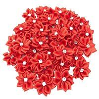 Red Satin Ribbon Flowers with Rhinestone Diamante Centre, 25mm Craft Flower