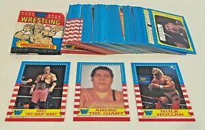 1987 Topps WWE WWF Wrestling Complete 75 Card Set W/ Wrapper Brett Hart RC ++