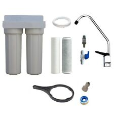 Twin Undersink Water Filtration Kit | Carbon Pure Water Systems Filter Kit + Tap