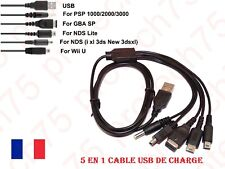 5 en 1 cable USB Cable de charge alim. Nintendo GBA SP WII U 3DS NDSL XL DSI PSP