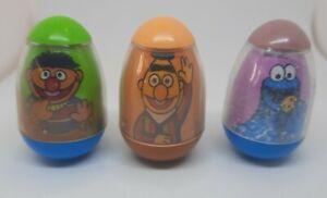 ☆ Lot 3 Vintage SESAME STREET Hasbro Weeble Wobble Bert & Ernie & Cookie Monster