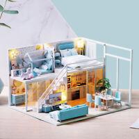 LED Light Wooden 3D DIY Dollhouse Miniature Furniture Doll House Kids Toys UK