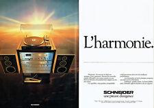 Publicité Advertising 127  1980  Schneider (2p)  hi-fi  l'harmonie