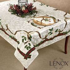"LENOX Holiday Nouveau 60"" X 84"" TABLECLOTH Christmas Red Green Gold Cream Holly"