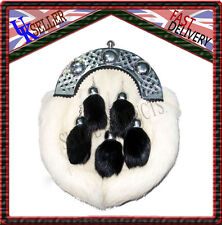 SCOTTISH FULL DRESS SPORRAN WHITE RABBIT FUR & CHROME CELTIC CANTLE 5 TASSELS