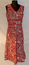Croft & Barrow Cotton Spandex V-Neck Scarlet Red Grey Floral Sleeveless Dress 6