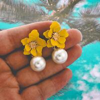 Flower Pearl Drop Dangle Earrings Sweet Ear Studs Jewelry Statement Earrings SP