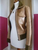 Ladies NEXT brown real leather tan JACKET COAT UK 12 10 biker flying bomber