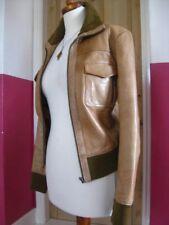 Ladies NEXT brown real leather short JACKET COAT UK 12 10 biker flying bomber