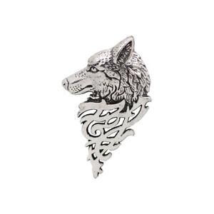 Vintage Wolf Head Brooch Pin Broach Pin Metal Breastpin Mens Cool Jewelry