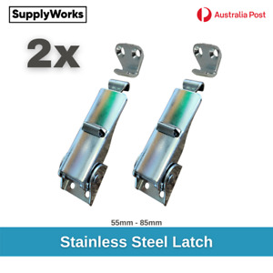 2x Stainless Steel 304 Over Centre Latch with Clip Lock Toggle Lock Fastener